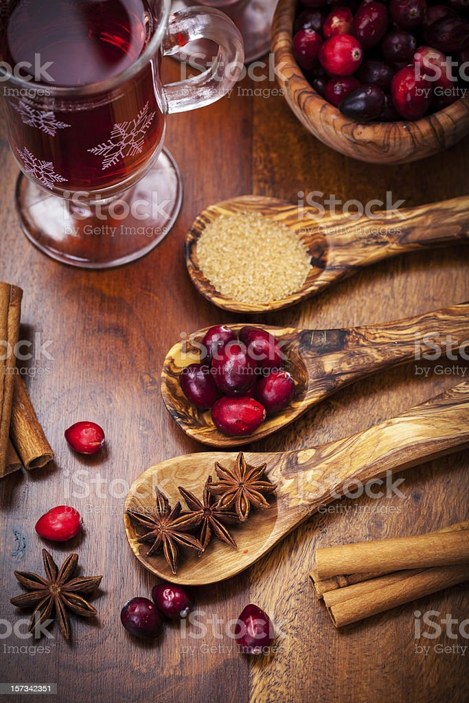 Ingredients for cranberry hot mulled wine royalty-free stock photo