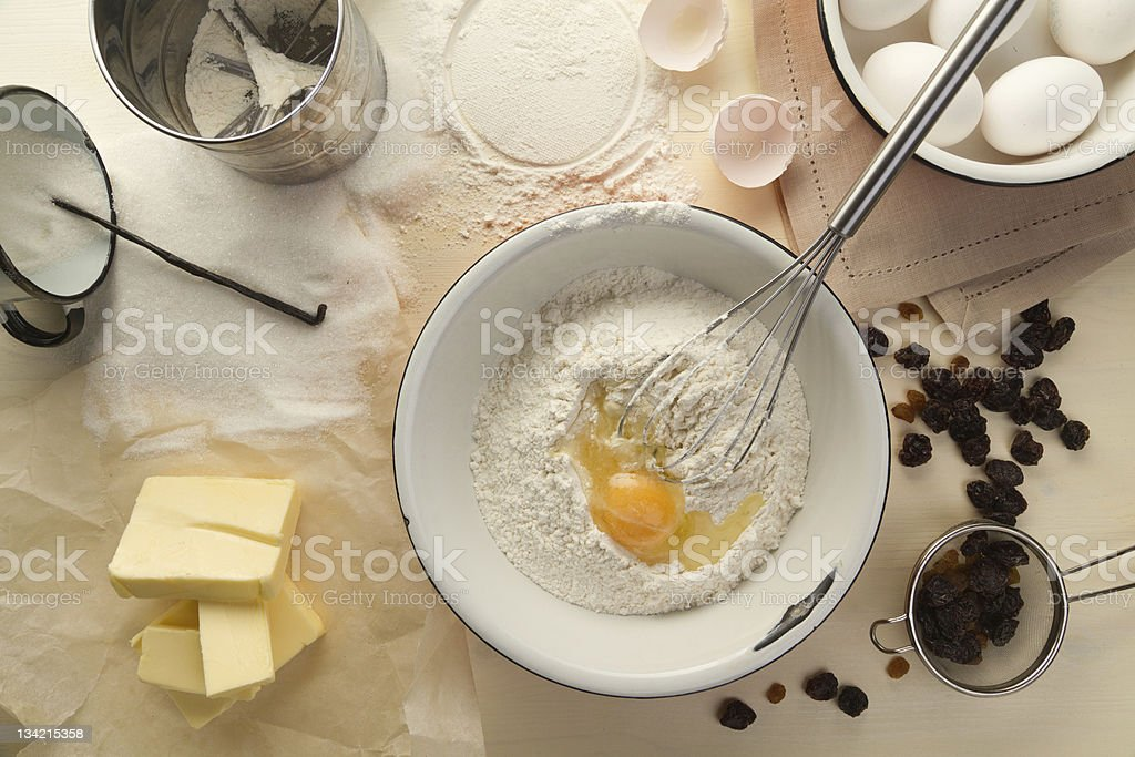 Ingredients for cupcake with raisins stock photo
