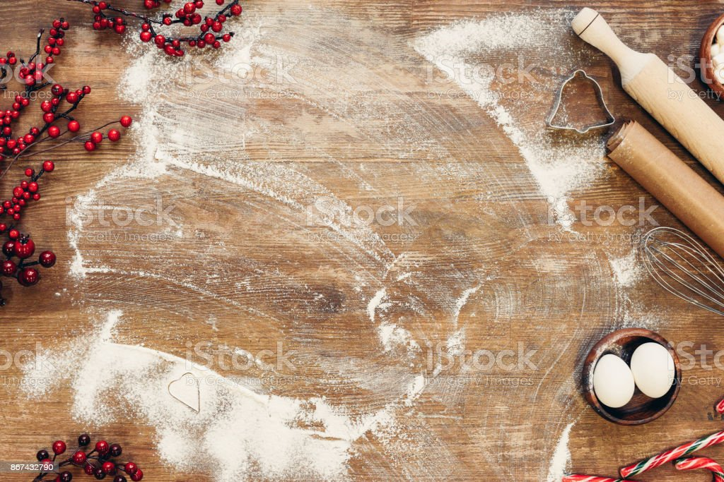 ingredients for dough and utensils stock photo