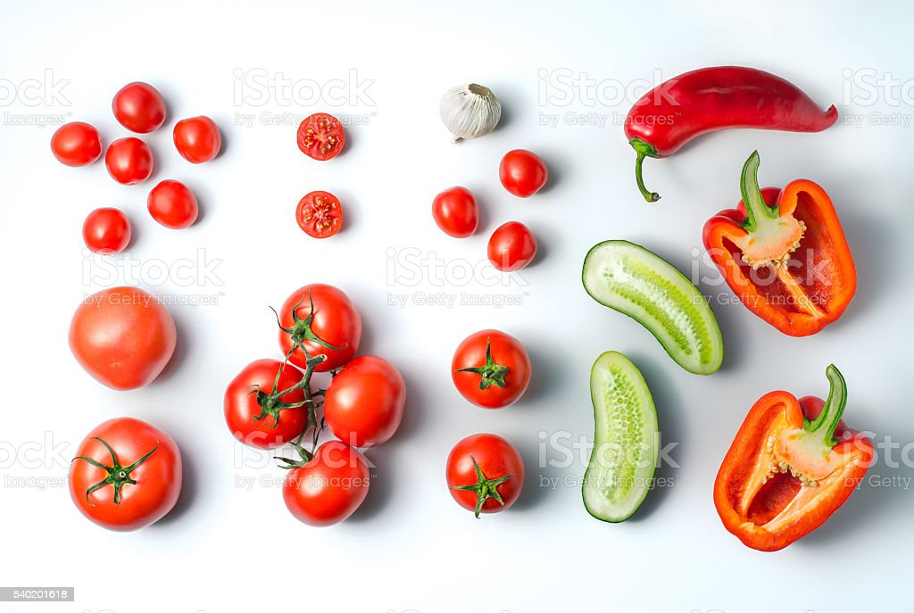 Ingredients for gazpacho soup on a white background – Foto