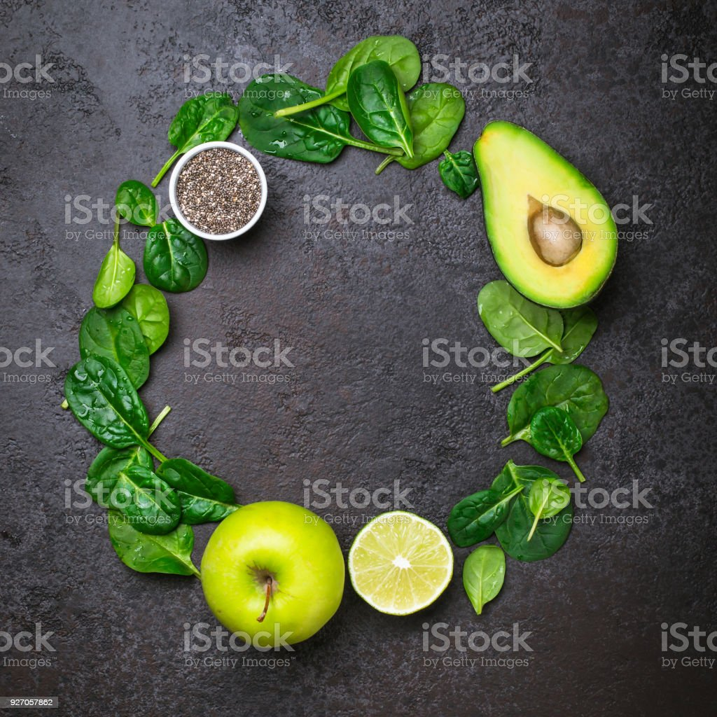Ingredients for green smoothies. Healthy Diet Concept stock photo