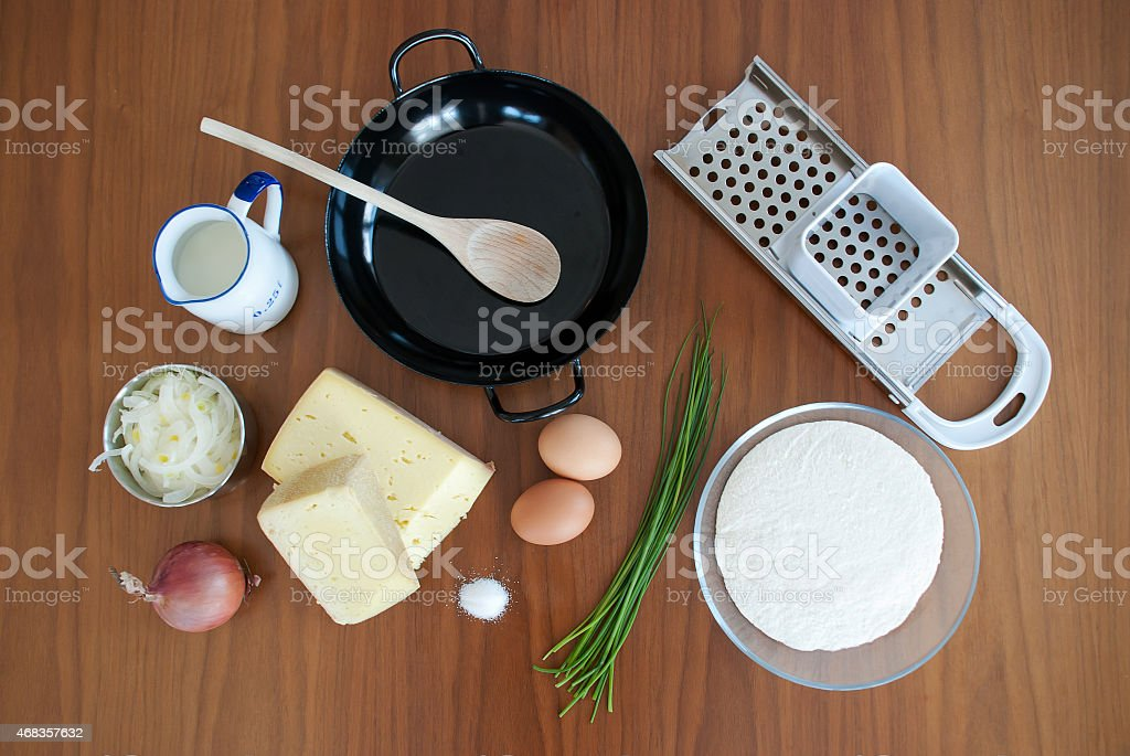 Ingredients for Handmade Spaetzle - Kasnocken royalty-free stock photo