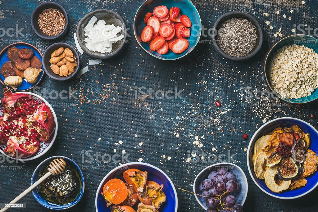 Ingredients for healthy breakfast, copy space, food frame stock photo