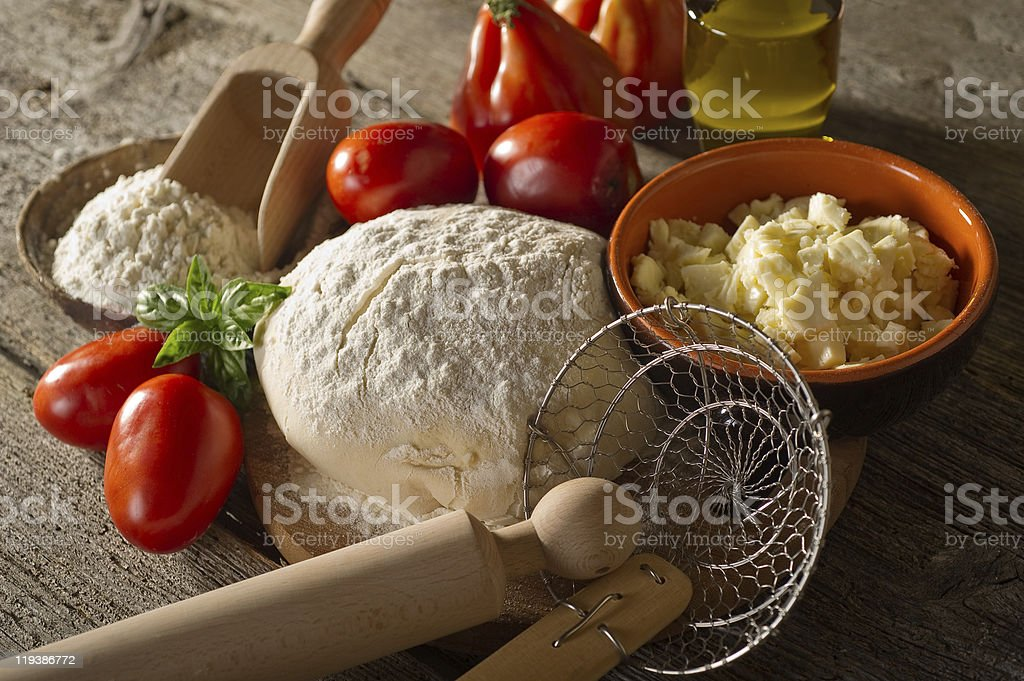 ingredients for homemade pizza royalty-free stock photo