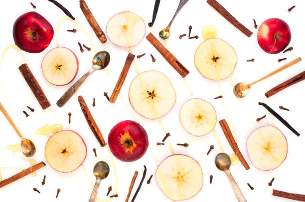 Ingredients for hot winter beverage stock photo