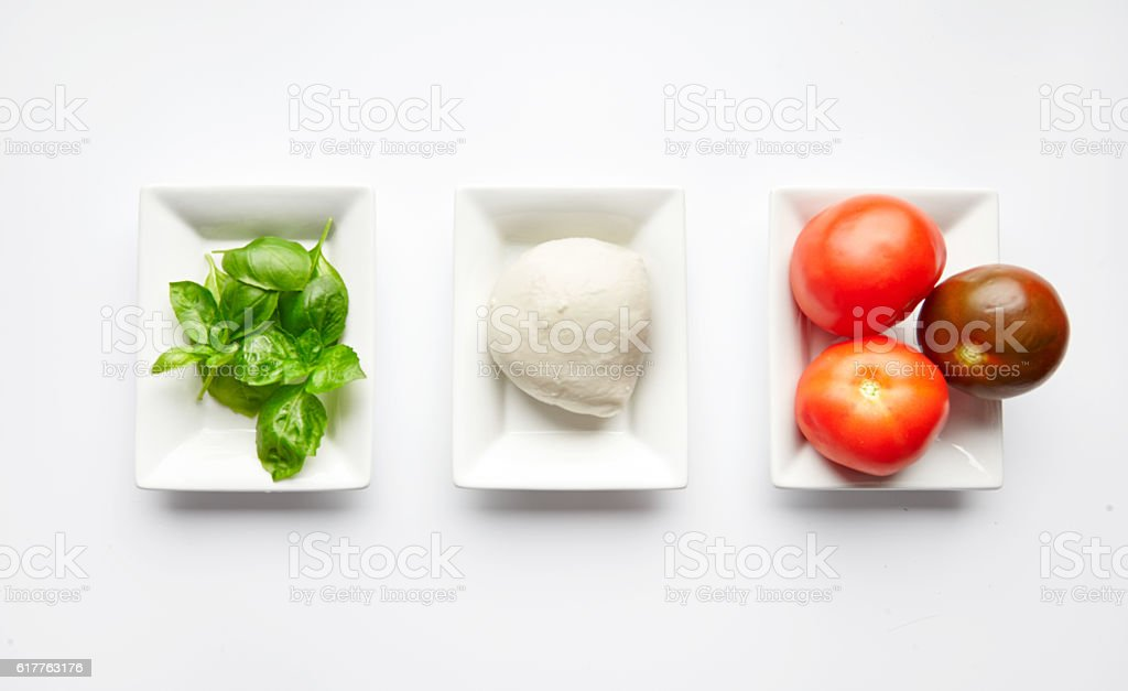 Ingredients for Italian Caprese salad stock photo