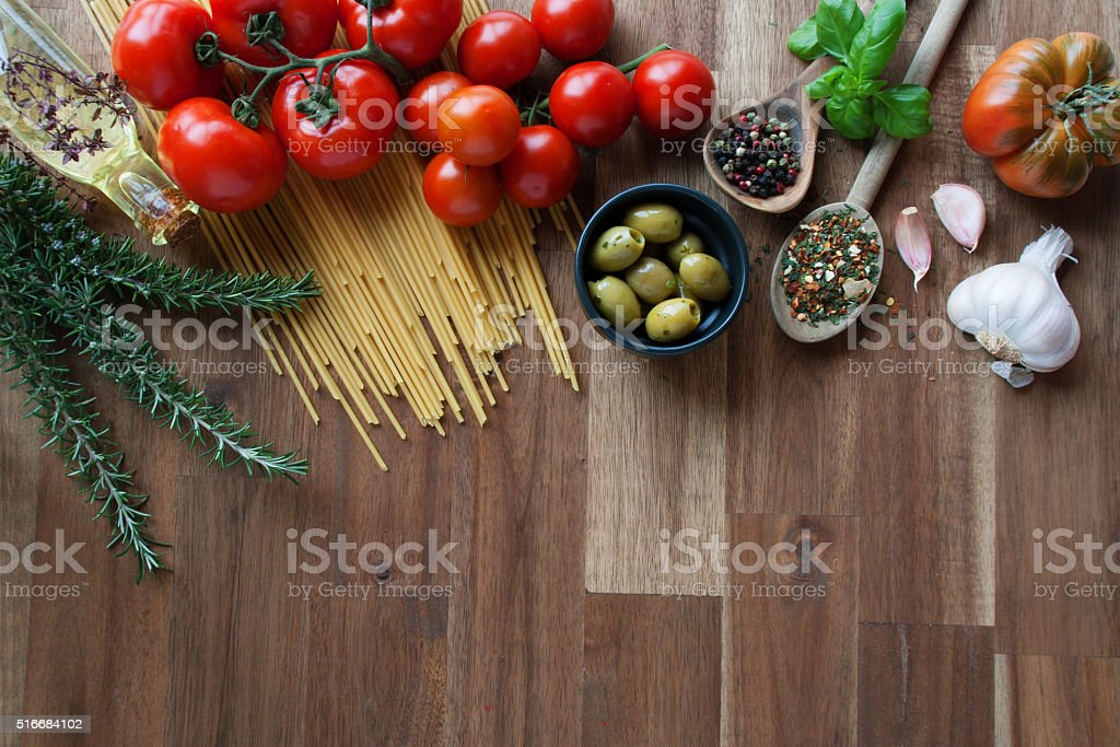 Ingredients for Italian pasta dishes stock photo