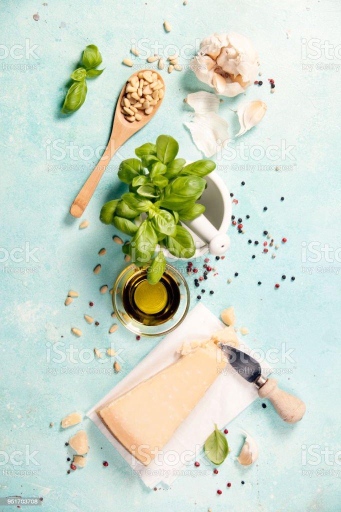Ingredients for italian pesto sauce stock photo