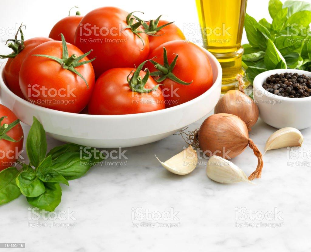 Ingredients for Italian Tomato Sauce stock photo