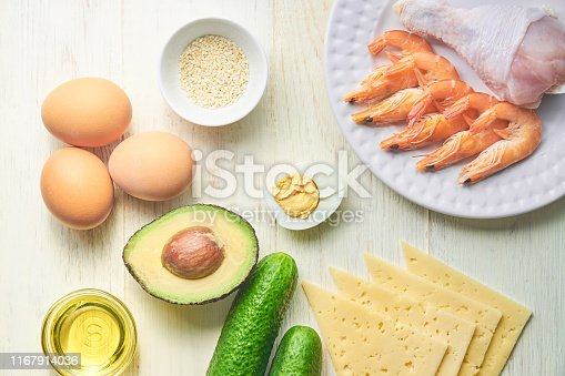 1129572695 istock photo Ingredients for ketogenic diet on wooden background. The concept of healthy eating.   Top view 1167914036