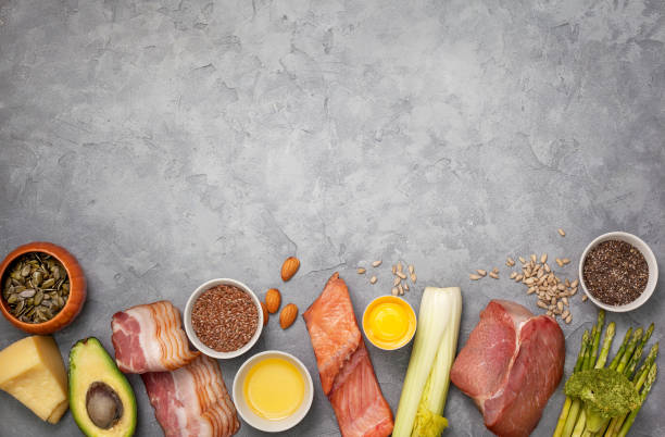 Ingredients for ketogenic diet stock photo