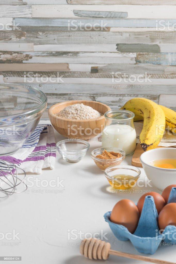 Ingredients for making pancake dough zbiór zdjęć royalty-free