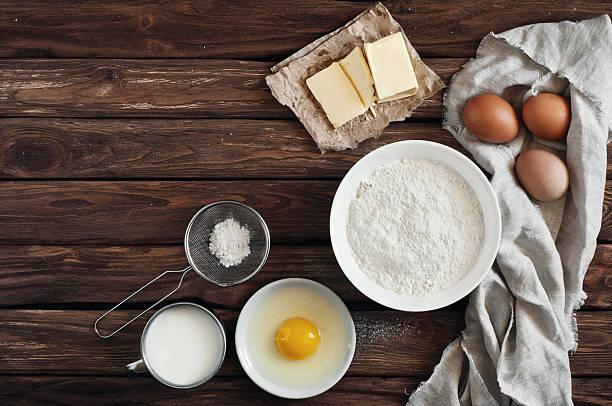 ingredients for making pancakes or cake stock photo