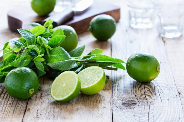 Zutaten für die Herstellung, die erfrischende Sommer Mojito Cocktail trinken – Foto