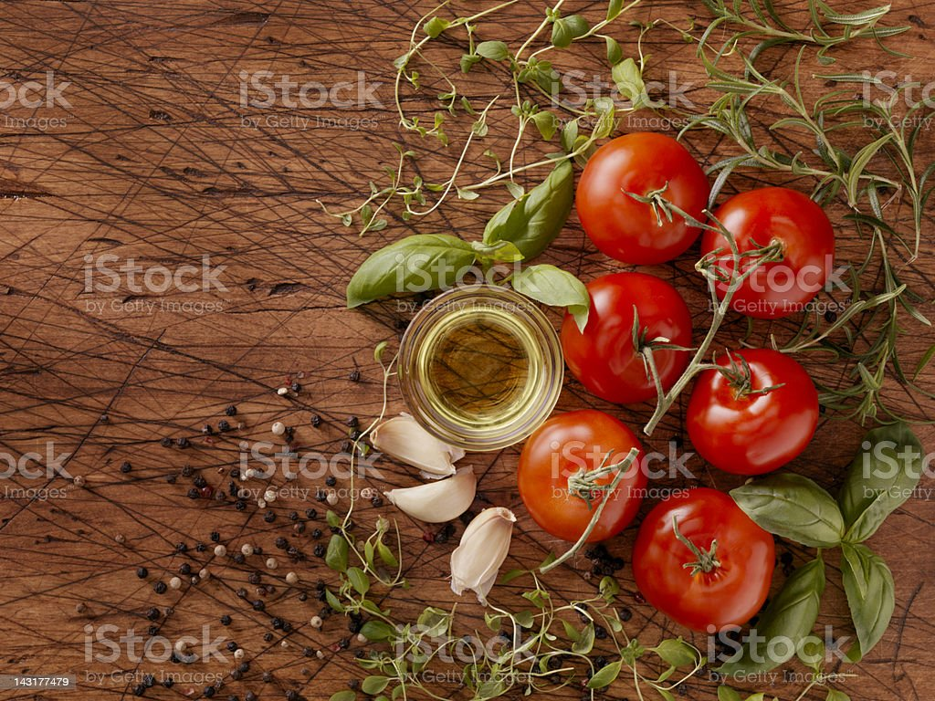 Ingredients for Making Spaghetti Sauce stock photo