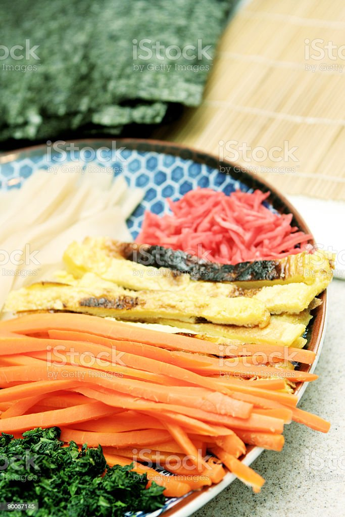 Ingredients for Making Sushi royalty-free stock photo