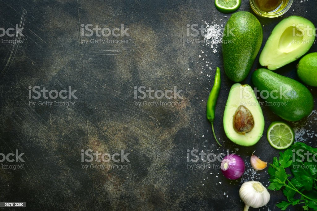 Ingredients for making traditional mexican dip guacamole stock photo