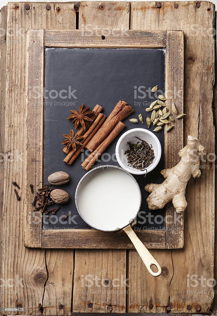 Ingredients for masala tea royalty-free stock photo