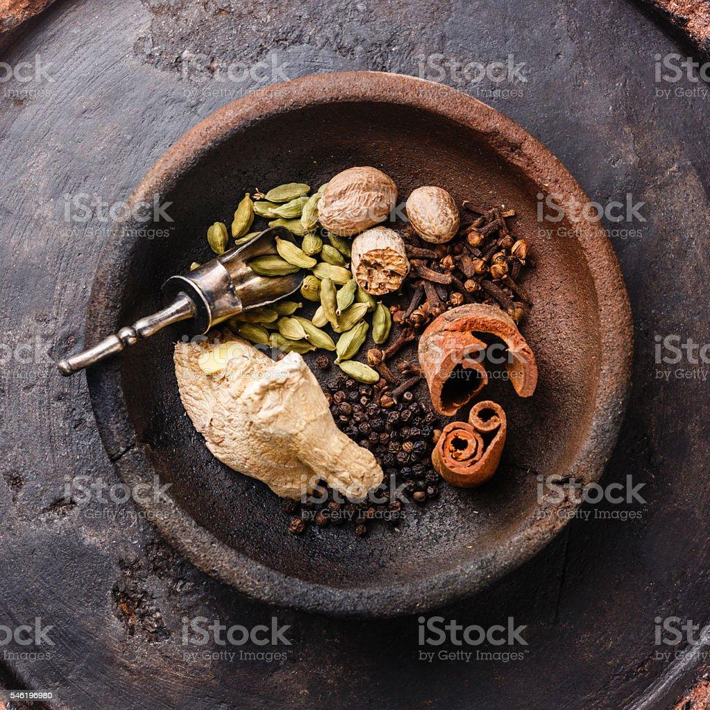 Ingredients for masala tea stock photo