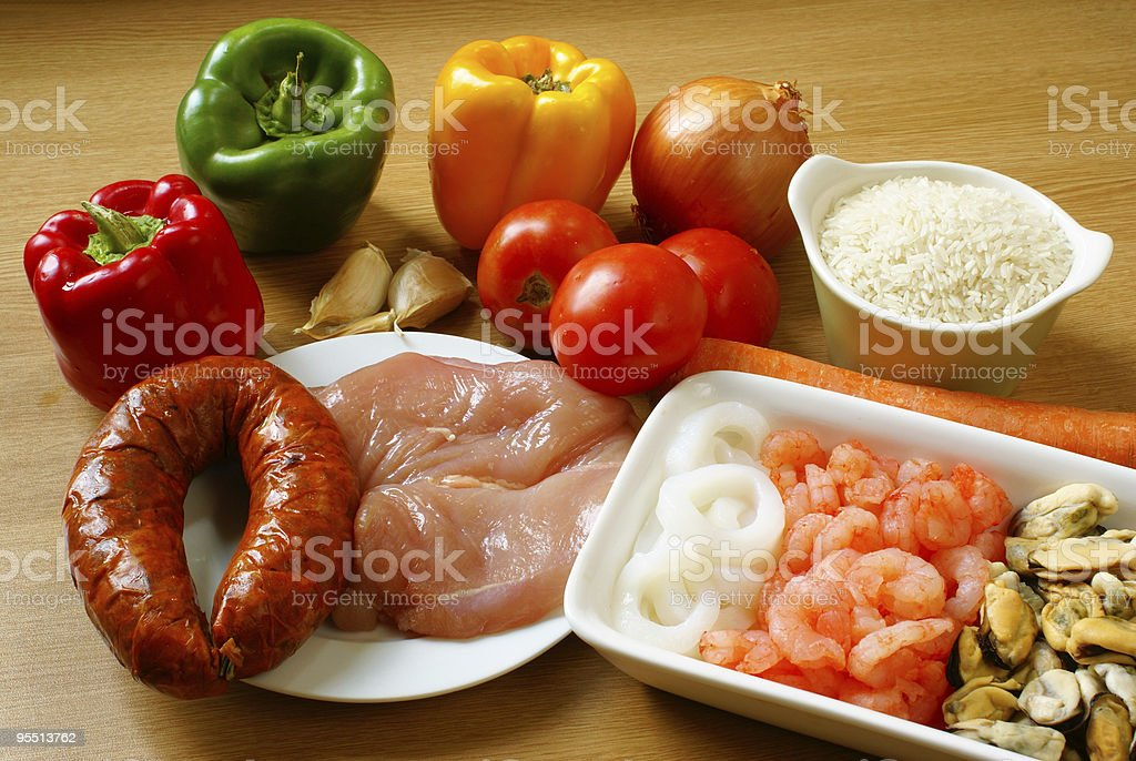 Ingredients for paella royalty-free stock photo