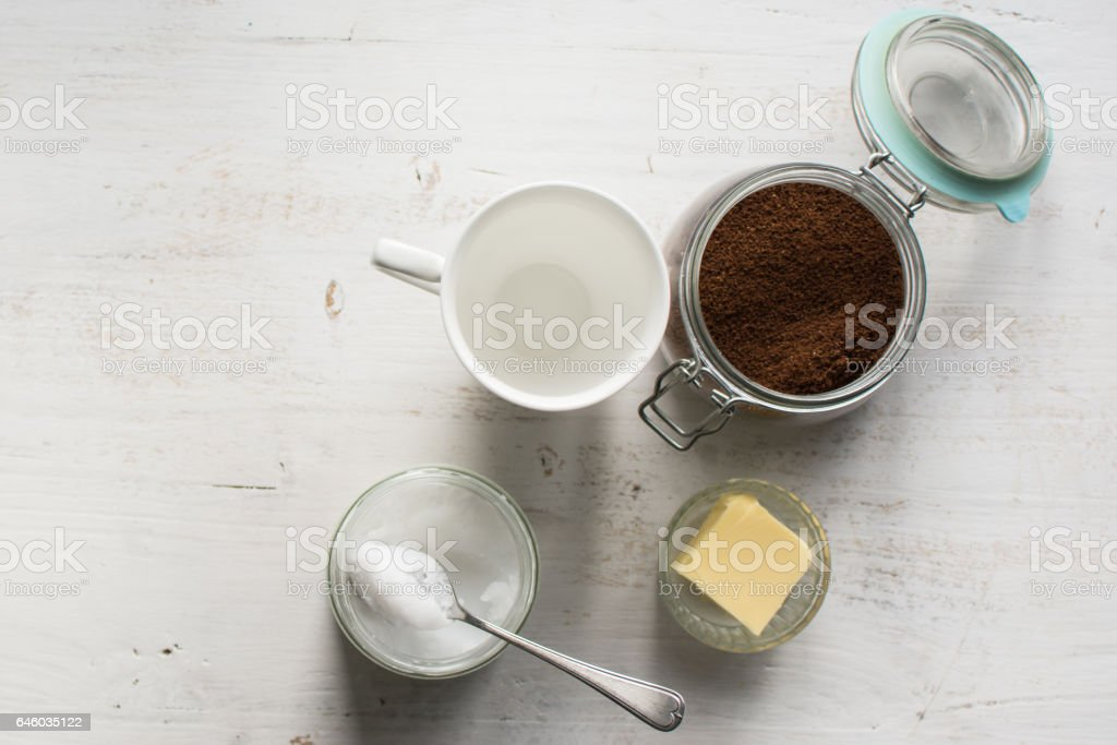 Ingredients for paleo style and ketogenic bulletproof coffee stock photo
