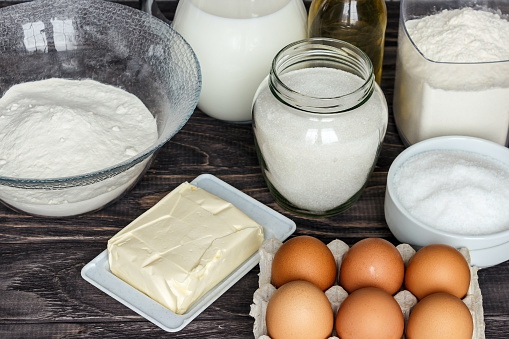 Ingredients For Pancakes Milk Eggs Sugar Salt Flour Vegetable Oil On A Wooden White Background Stock Photo Download Image Now Istock