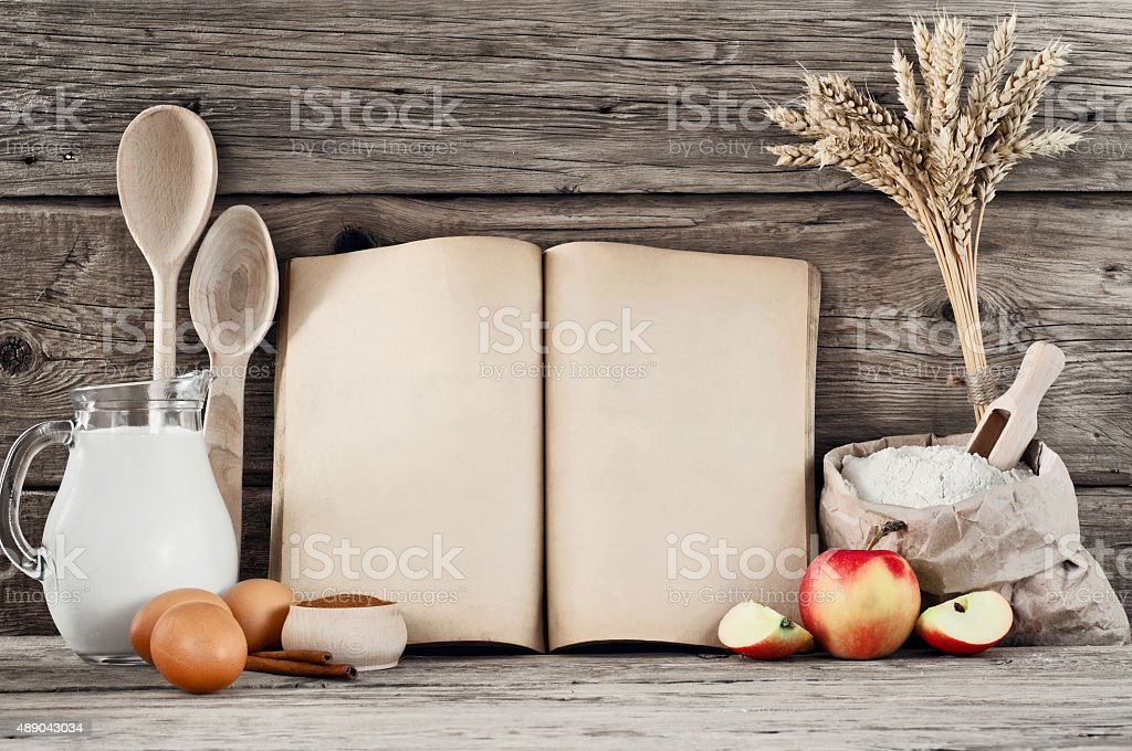 ingredients for pastry with apples (pie, cake, strudel) on woode stock photo
