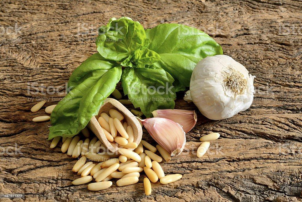 ingredients for pesto Genovese royalty-free stock photo