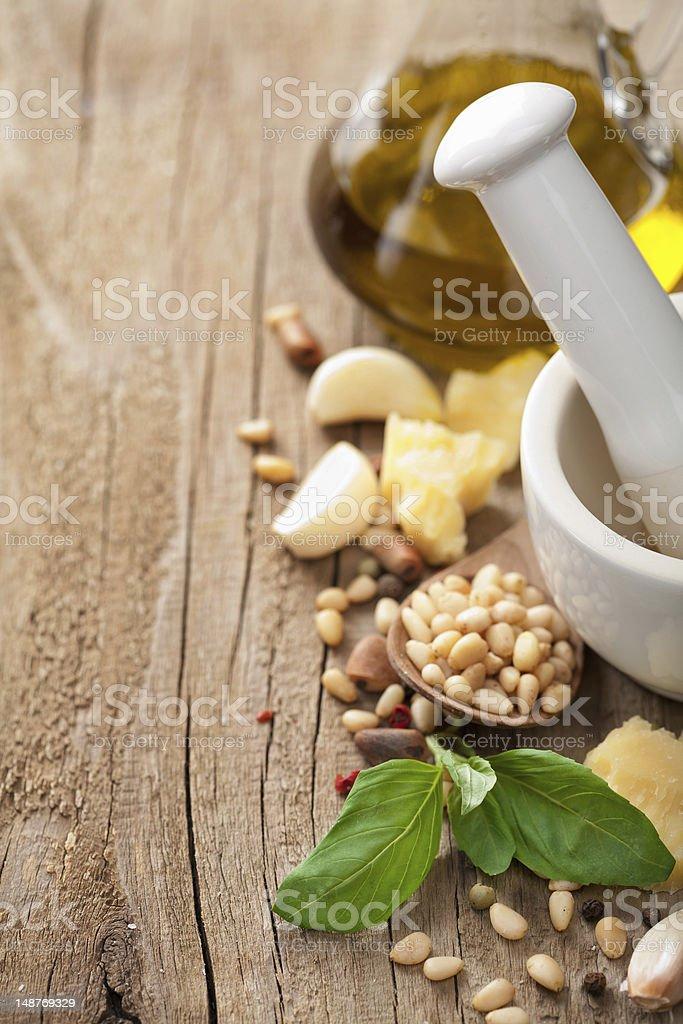 ingredients for pesto sauce royalty-free stock photo