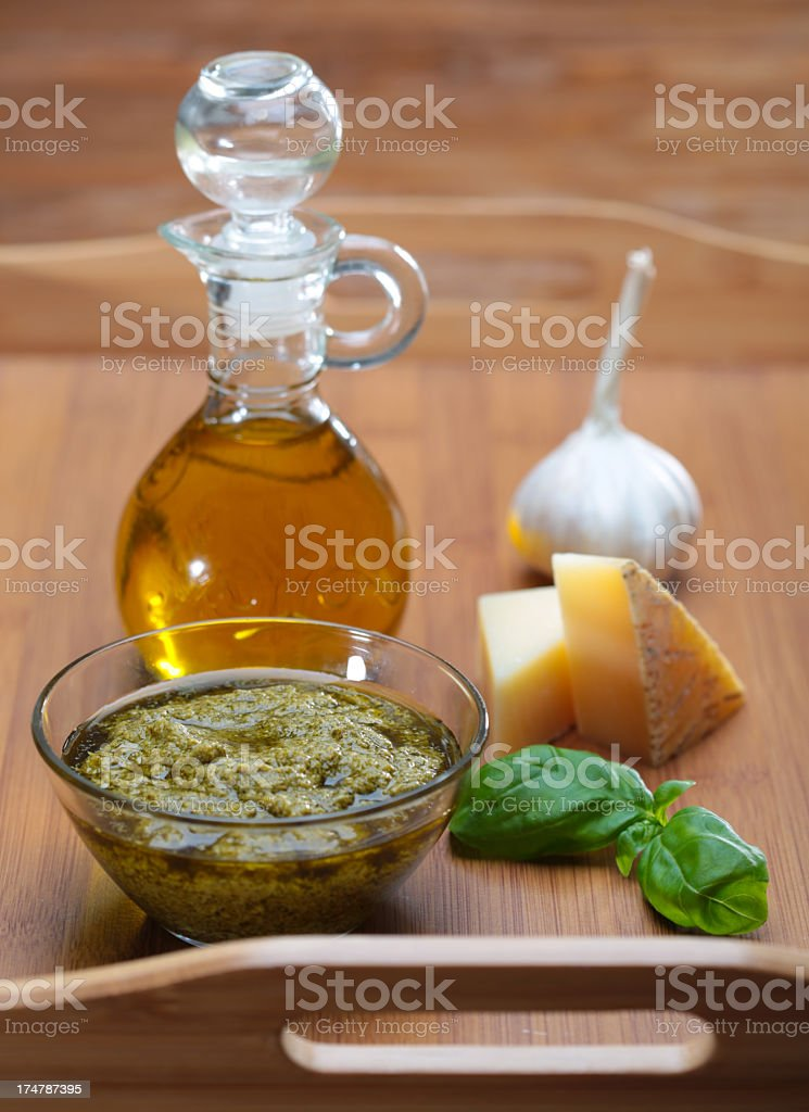 ingredients for pesto sauce royalty-free stock photo