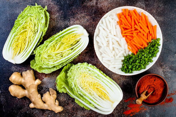 Ingredients for preparing cabbage kimchi. Fermented food. Ingredients for preparing cabbage kimchi. Fermented food. kimchee stock pictures, royalty-free photos & images