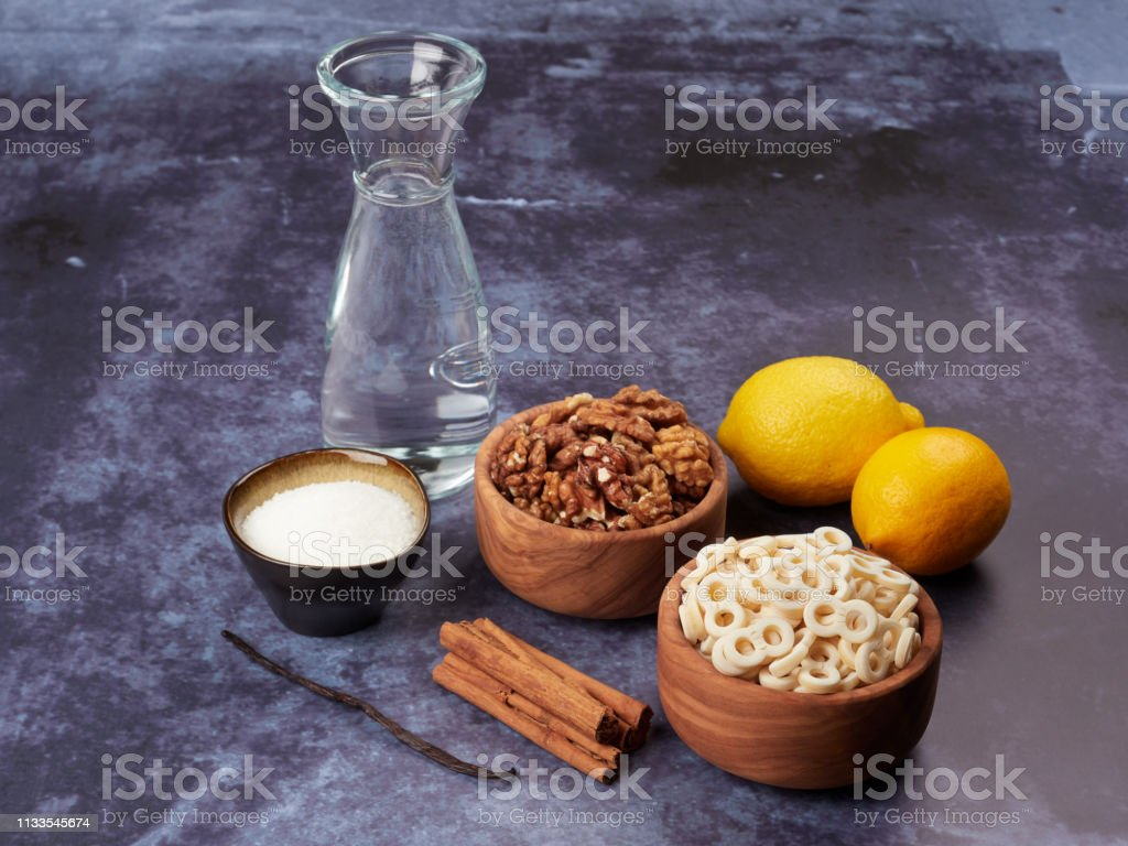 Ingredients for Romanian mucenici or macinici stock photo