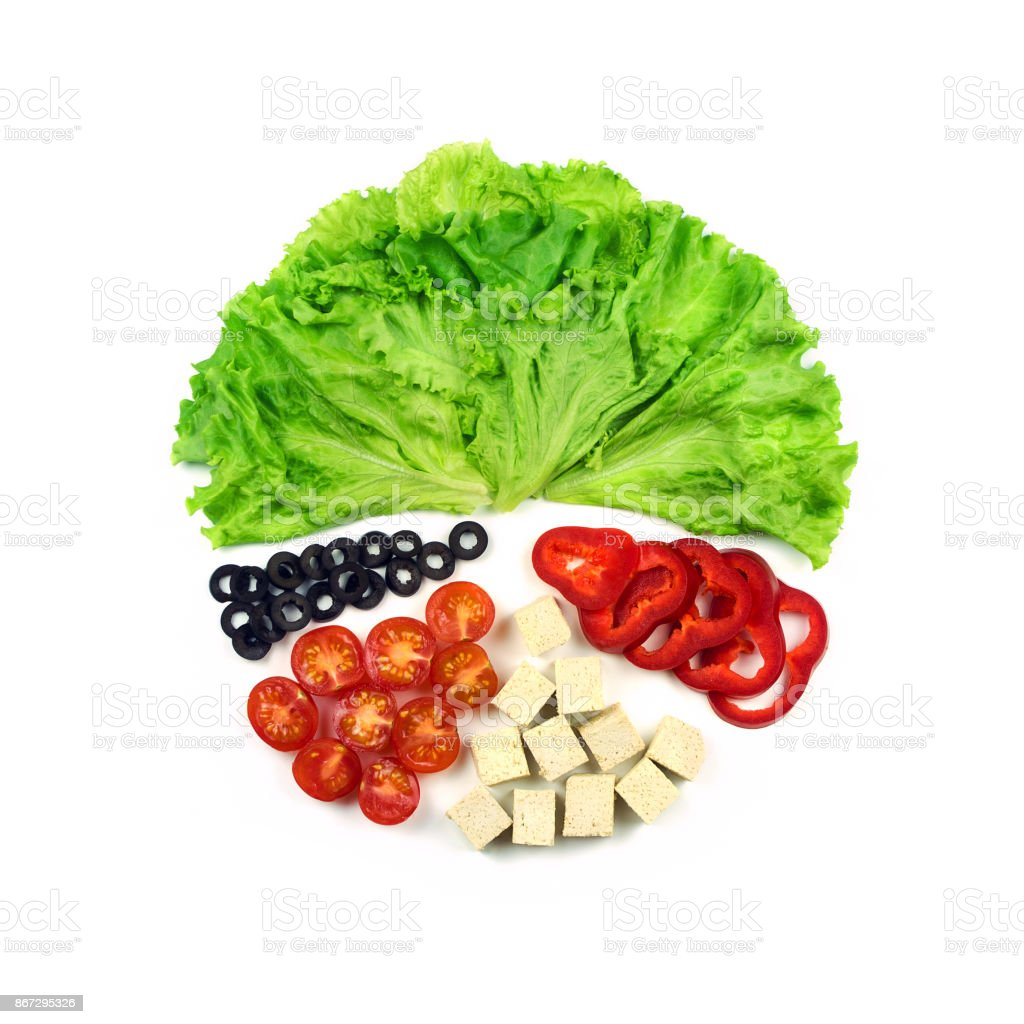 Ingredients for salad in geometric pattern. Flat lay stock photo