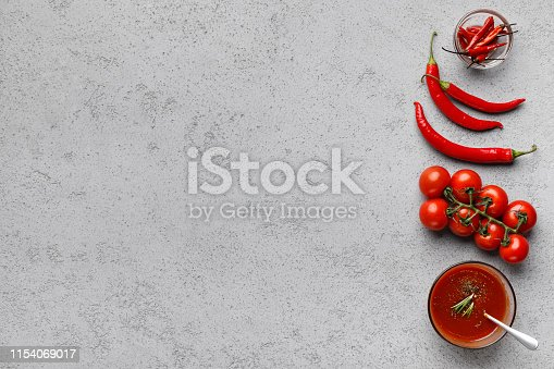istock Ingredients for sauce. Cherry tomatoes and chili pepper 1154069017