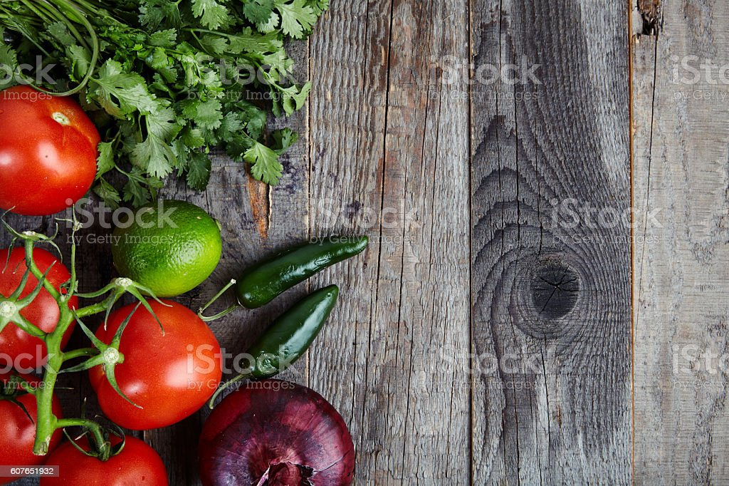 Ingredients for sauce Pico de Gallo, salsa fresca stock photo