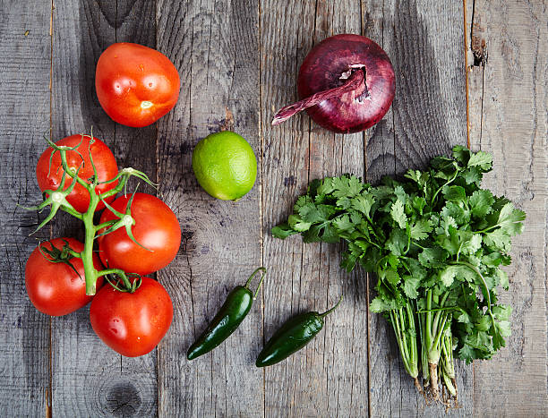 ingredients for sauce pico de gallo, salsa fresca - onion juice stock photos and pictures