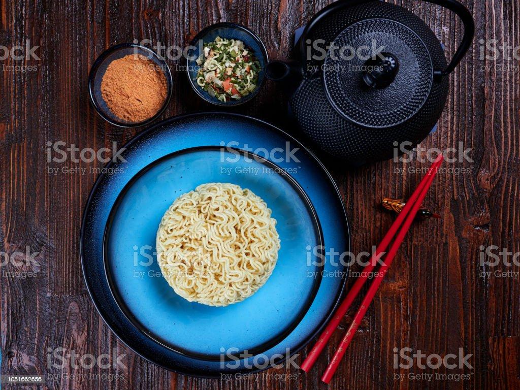 Ingredients for Shin Ramyun, a popular Korean noodle dish stock photo