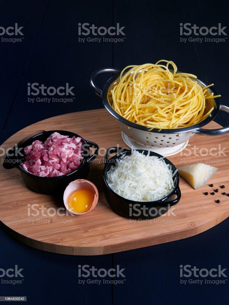 Ingredients for spaghetti carbonara stock photo