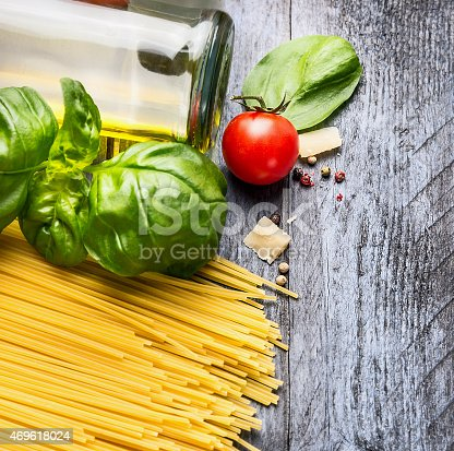 istock Ingredients for spaghetti with basil, tomato ,oil and parmesan cheese 469618024