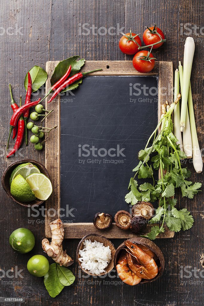 Ingredients for spicy soup Tom Yam stock photo