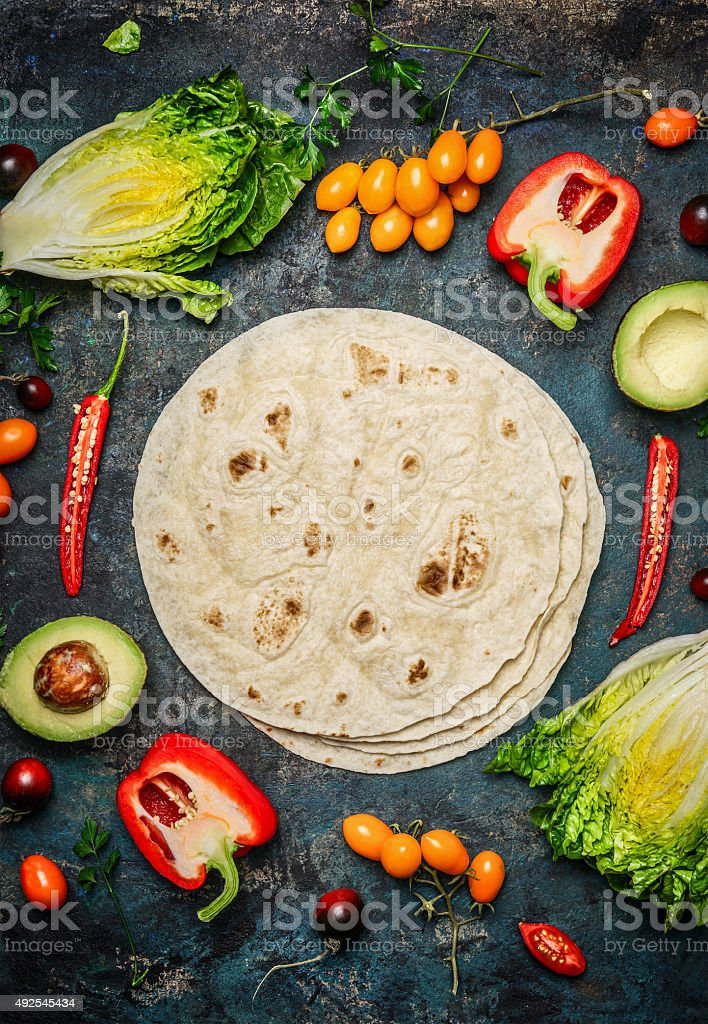 Ingredients for tacos or burrito making. stock photo