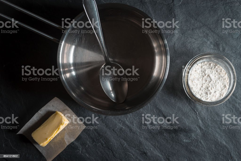 Zutaten für die Basis Verdickungsmittel Roux Lizenzfreies stock-foto