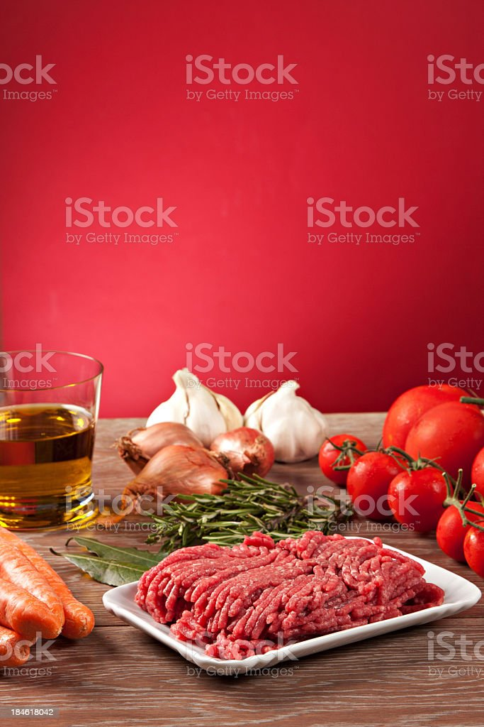 Ingredients for the Bolognese sauce stock photo