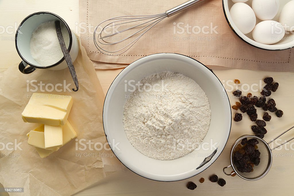 Ingredients for the dough with raisins royalty-free stock photo