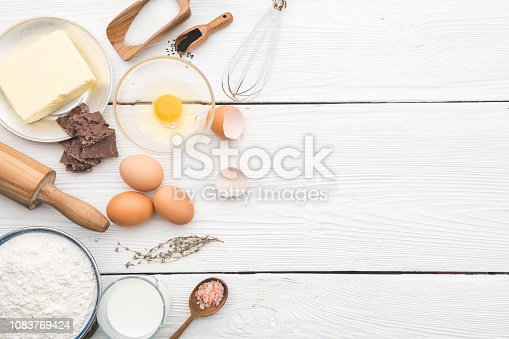 Bakery ingredients and tools. Top View