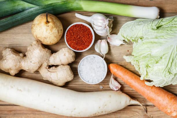 zutaten für die zubereitung von kimchee - peperoni stiche stock-fotos und bilder