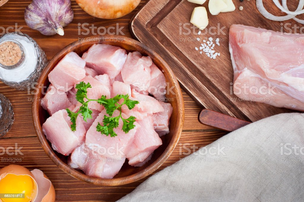 Ingredients for the preparation of minced meat for cutlets from turkey fillet, top view 免版稅 stock photo