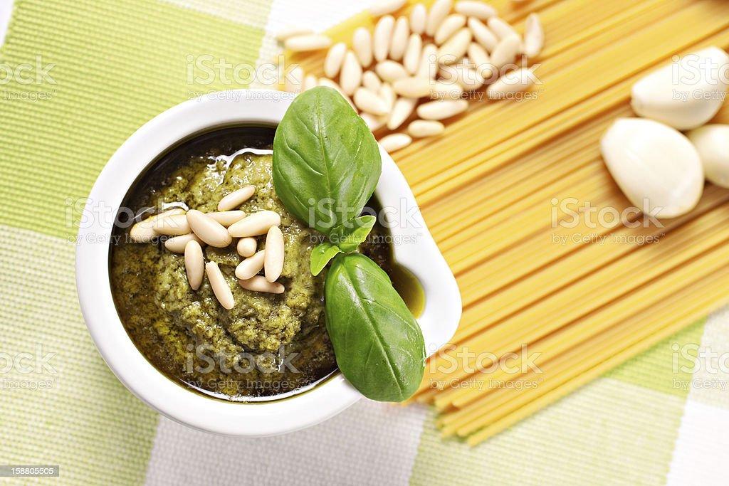 Ingredients for the spaghetti al pesto, a typical Italian recipe royalty-free stock photo