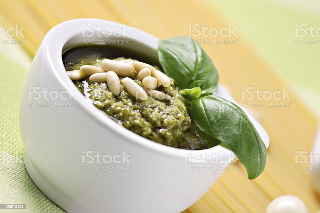 Ingredients for the spaghetti al pesto, a typical Italian recipe royalty-free stock photo