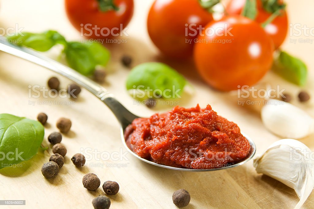Ingredients for tomato sauce stock photo